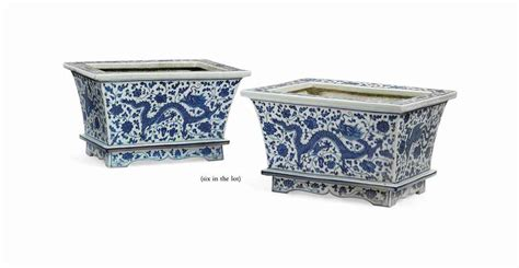 a pair of porcelain blue and white rectangular