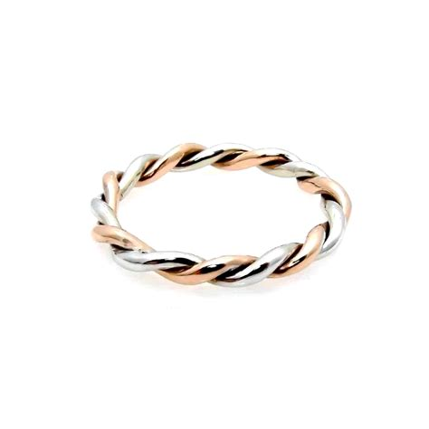 twisted 14k cable rope wedding band stacking ring