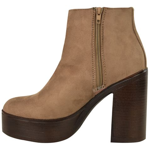 heel boots new womens chunky chelsea ankle boots high block