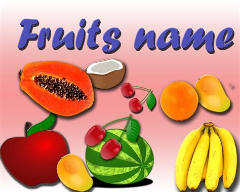 6 fruits name vocabulary for fruits name basic