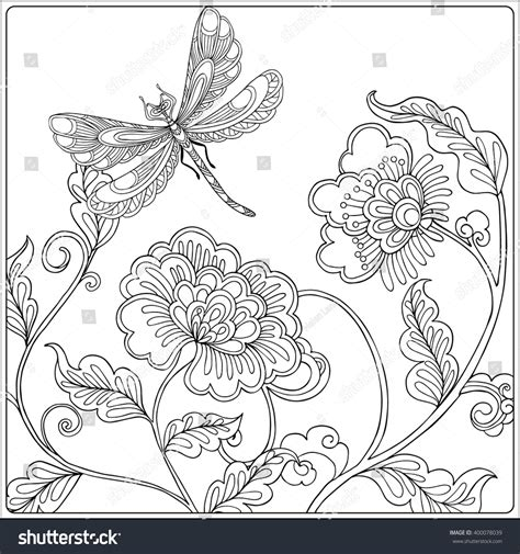 coloring pages of birds and butterflies decorative flowers birds butterflies coloring book stock