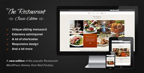 themeforest restaurant the restaurant classic edition by redfactory themeforest