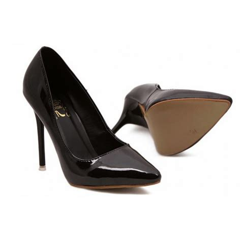patent black high heel court shoes