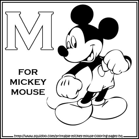 Mickey Mouse Letters Coloring Pages | mickey mouse coloring pages for kids photograph colori