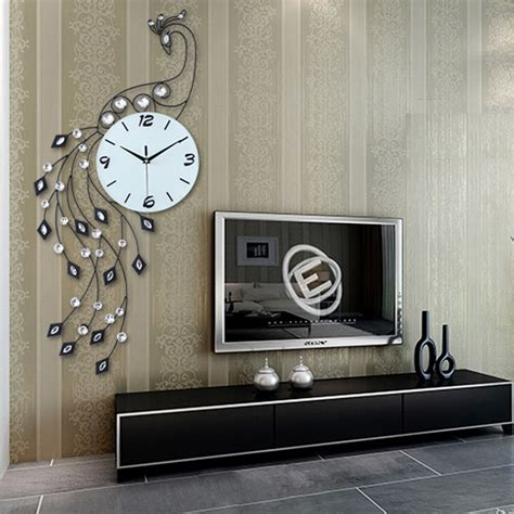 iron home decor luxury peacock iron art living room wall clock modern home