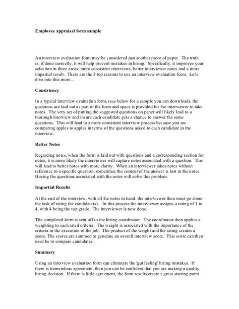 Appraisal Letter Answers Employee Appraisal Form Sle