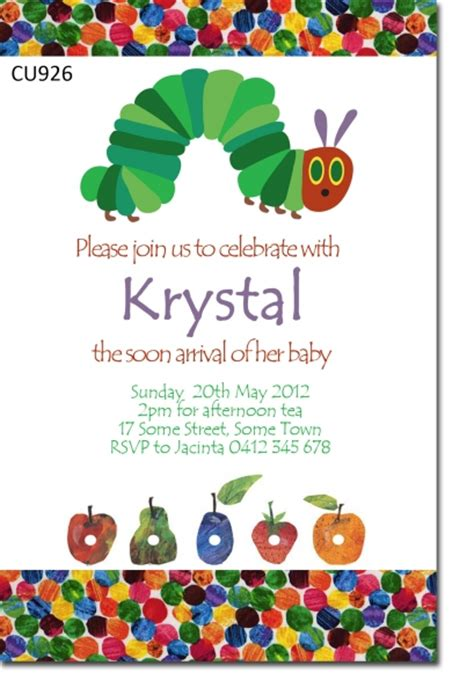 hungry caterpillar invitation template free cu926 hungry caterpillar baby shower invitaiton baby