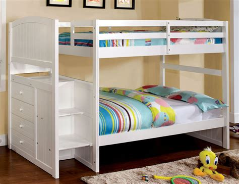 bunk beds with steps appenzell white kids youth stairway step drawers twin over