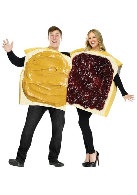 comfortable halloween costumes for adults adult peanut butter and jelly costume