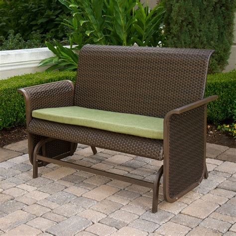 Wicker Patio Bench by Patio Glider Bench Modern Wicker Loveseat Glider Bench