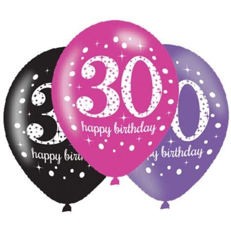 30 geburtstag 6 luftballons pink schwarz
