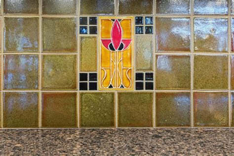 arts crafts kitchen backsplash detail craftsman