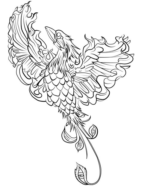 phoenix hard coloring pages of mythical animals