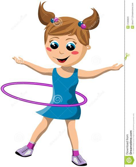 imagenes de niños jugando hula hula muchacha feliz que gira el aro de hula ilustraci 243 n del