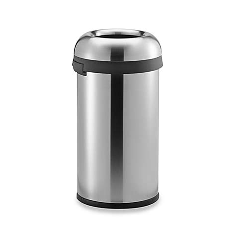 bed bath and beyond simplehuman trash can simplehuman 174 brushed stainless steel bullet open 60 liter