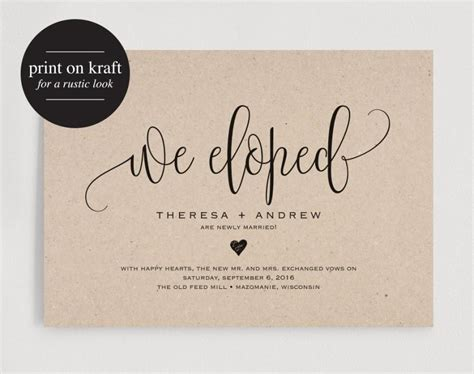 Wedding Announcement by We Eloped Wedding Announcement Elopement Announcement