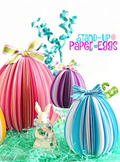 How To Make Easter Eggs Out Of Paper - stand up paper eggs miss celebration