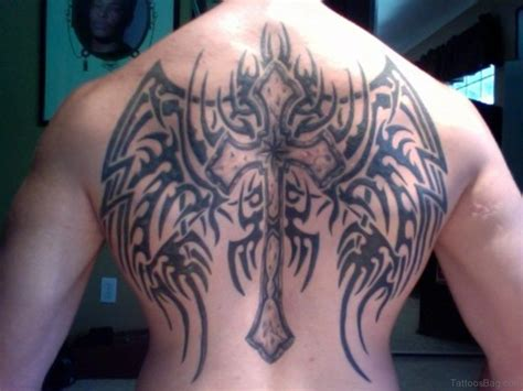 tribal wings back tattoo 98 best cross with wings tattoos for back