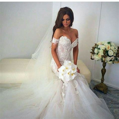 Wedding Dresses The Shoulder by The Shoulder Mermaid Wedding Dress With