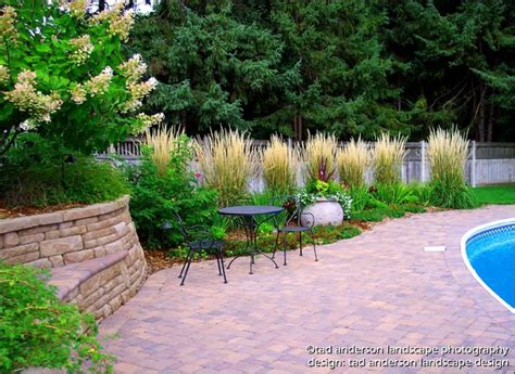 pool patio renovation massed ornamental grasses minnesota landscape design traditional