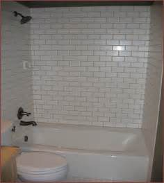 white tile bathtub surround light gray grout