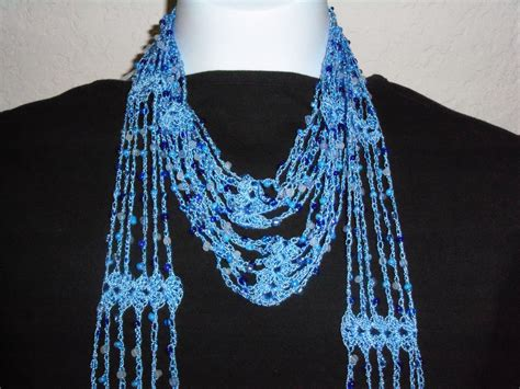 beaded crochet scarf pattern crochet beaded blue scarf with blue new by nanaswoolies