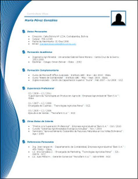 Plantilla Vacia De Curriculum Vitae Plantilla De Curr 237 Culum Vii Trabajopolis Bo