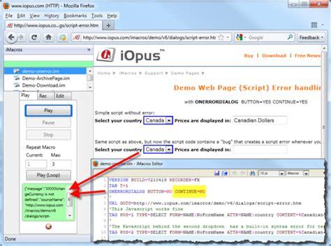 imacros browser tutorial onerrordialog imacros