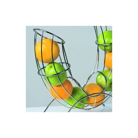 Philosophy Fruit Stand by Design Fruit Basket Pipe Roll Bowl Chromed Wire Silver Ebay