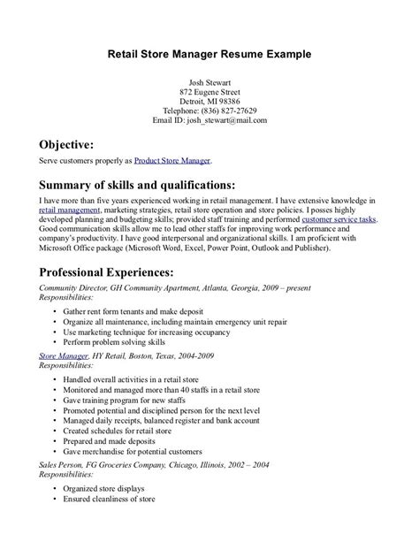 resume exle retail store manager resume exles retail assistant manager resume retail