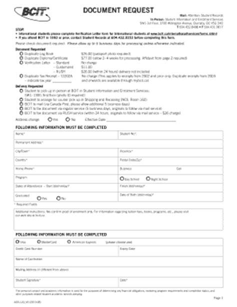 Verification Letter Bcit Bcit Document Request Form Fill Printable Fillable Blank Pdffiller