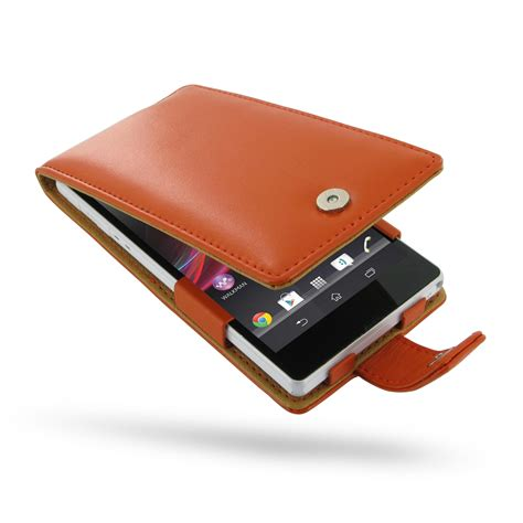 Leather Sony Xperia Z sony xperia z leather flip orange pdair sleeve