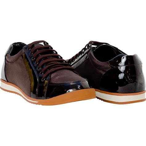 paolo brown patent leather low top sneakers paolo shoes