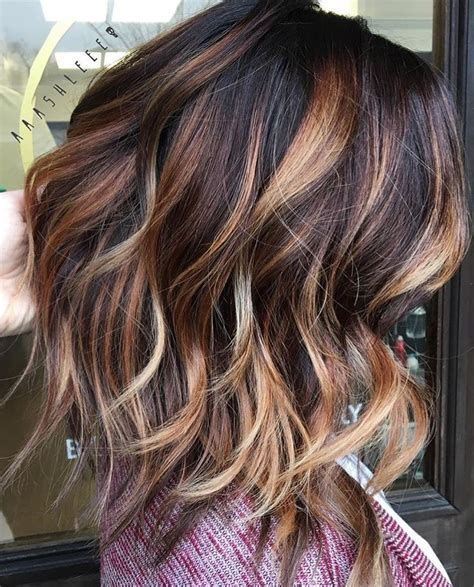 trendy hair highlights caramel colored highlights on
