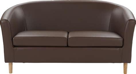 New Modern Faux Leather 2 Seater Compact Tub Sofa Chocolate Faux Leather Tub Sofa