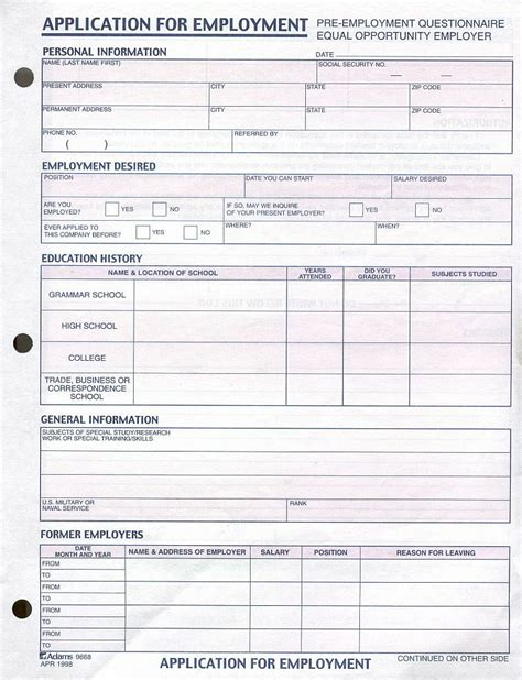printable job application for h m employment application free printable documents