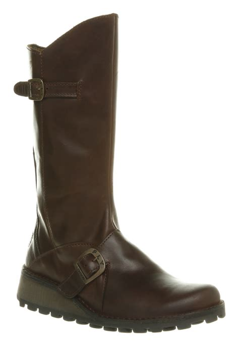 rugged leather boots womens fly mes wedge calf boot brown rugged leather boots