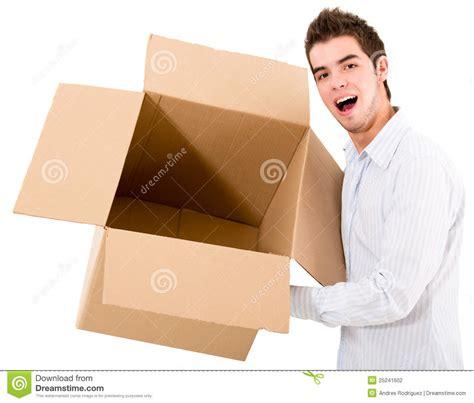 man holding man holding an empty box stock photo image of latin