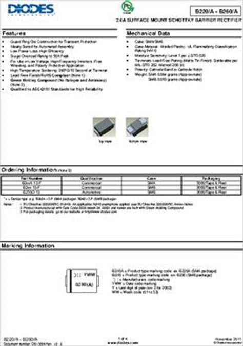 datasheet specifications diode type schottky