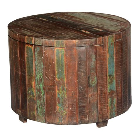 reclaimed wood accent table appalachian rustic reclaimed wood round barrel chest