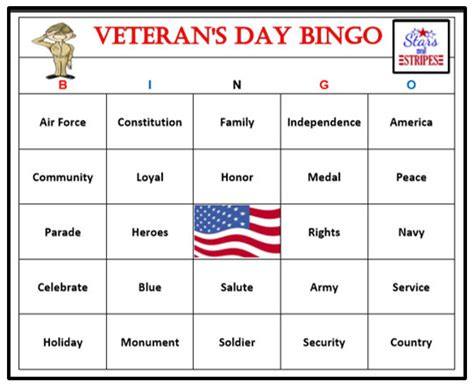 printable veterans day bingo cards veteran s day bingo game 60 cards fun and easy to play