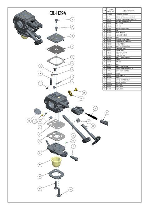 zama carburetor diagram zama c1u h39a