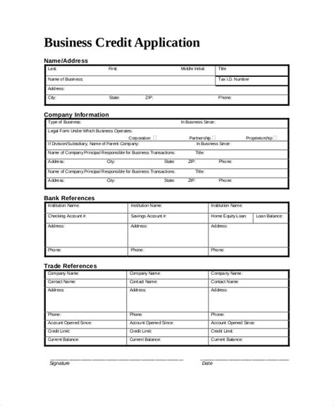Business Credit Application Template Word Sle Credit Application Form 8 Documents In Pdf Word