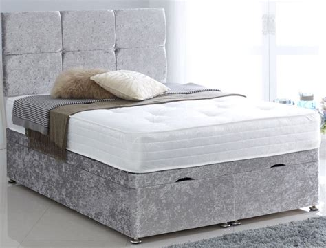 king size ottoman bed base superior crushed velvet silver 5ft king size ottoman divan