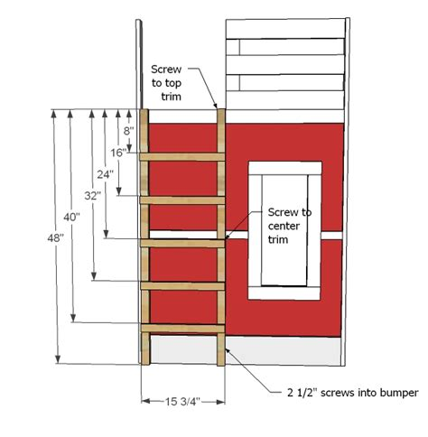 Fire Truck Bunk Bed Woodwork Bunk Bed Ladder Construction Pdf Plans