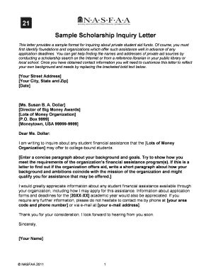 Scholarship Enquiry Letter fillable nasfaa sle scholarship inquiry letter