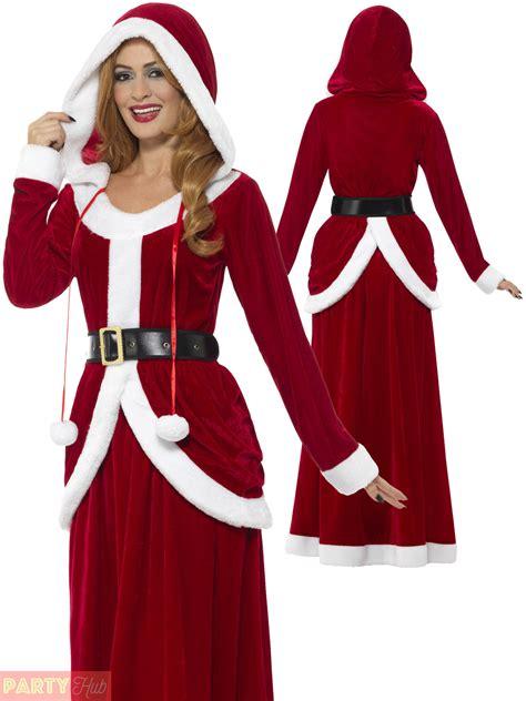 ladies deluxe miss claus mrs santa long fancy dress