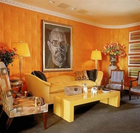 living area energetic orange home decor 2626