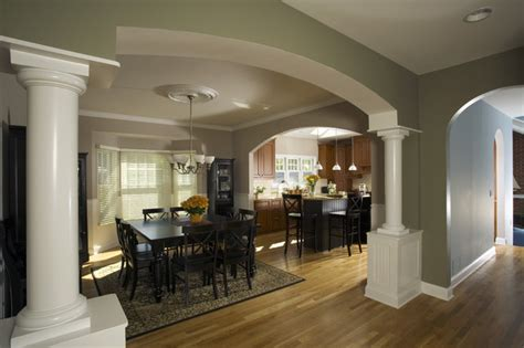 how to open a room in arched opening to dining room traditional dining room