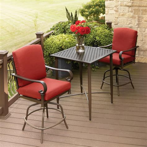 Balcony Bistro Set Patio Furniture Hton Bay Oak Cliff 3 Metal Outdoor Balcony Height Bistro Set With Chili Cushions 176